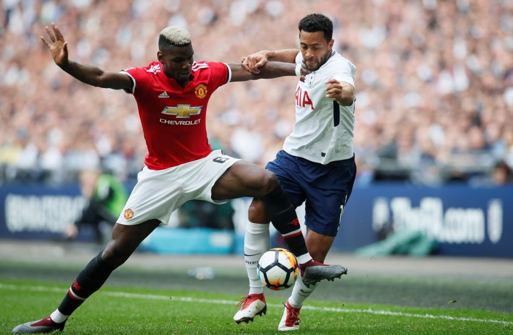 Tottenham's Mousa Dembele in action with Paul Pogba.