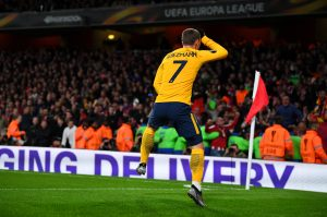 Atletico Madrid's Antoine Griezmann celebrates against Arsenal.