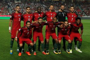 Portugal pose for a team group photo before the match.