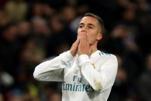 Real Madrid's Lucas Vazquez celebrates scoring their third goal.