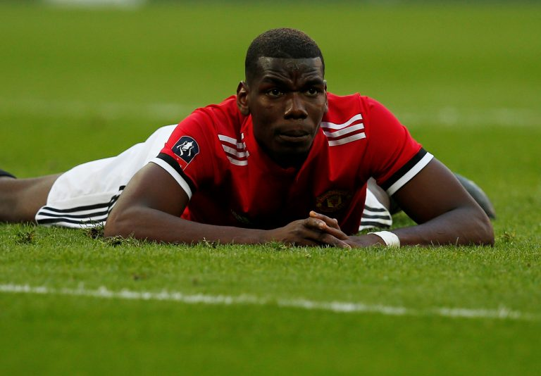 Manchester United's Paul Pogba reacts after heading a chance wide.