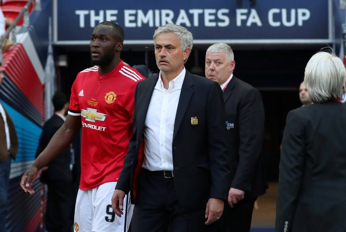 Manchester United manager Jose Mourinho and Romelu Lukaku look dejected at the end of the match.