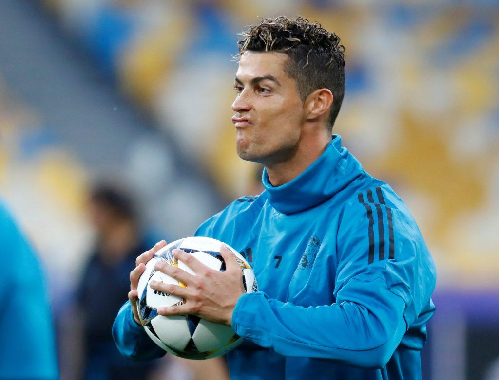 Real Madrid's Cristiano Ronaldo during training.