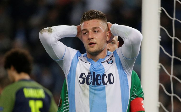 Lazio's Sergej Milinkovic-Savic reacts after a missed chance to score.