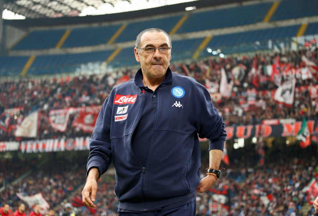 Napoli coach Maurizio Sarri before the match.