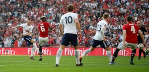 Tottenham's Eric Dier shoots at goal.