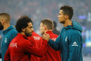 Liverpool's Mohamed Salah and Real Madrid's Cristiano Ronaldo before the match.