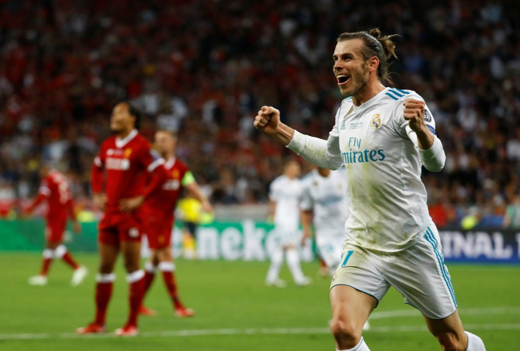 Real Madrid's Gareth Bale celebrates scoring their third goal.
