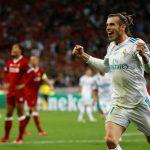 Real Madrid's Gareth Bale celebrates scoring their third goal.