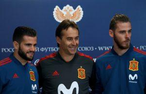 Spain's Nacho, coach Julen Lopetegui and David de Gea attend a news conference before friendly match against Russia.