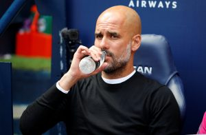 Manchester City manager Pep Guardiola before the match.