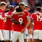 Manchester United's Marcus Rashford celebrates scoring their first goal with Manchester United's Michael Carrick, Juan Mata and team mates.