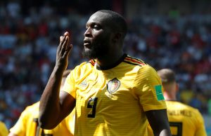 Belgium's Romelu Lukaku celebrates scoring their second goal.