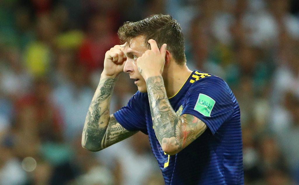 Sweden's Victor Lindelof gestures.