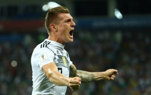 Germany's Toni Kroos celebrates scoring their second goal.