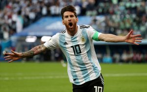 Argentina's Lionel Messi celebrates scoring their first goal.