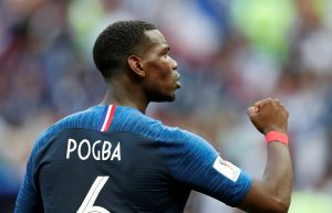 France's Paul Pogba celebrates after the match.