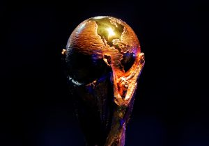 General view of the FIFA World Cup trophy during the draw.