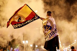 Real Madrid fans celebrate near the Cibeles fountain in central Madrid after their team won the Champions League.