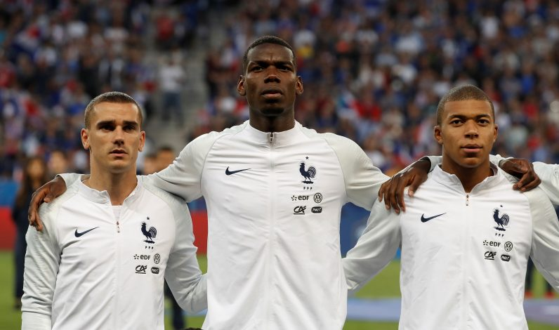 France's Antoine Griezmann, Paul Pogba and Kylian Mbappe before the match.