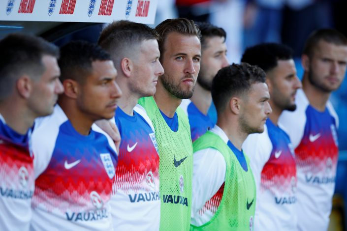 England's Harry Kane on the substitutes bench.