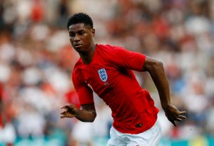 England's Marcus Rashford in action.
