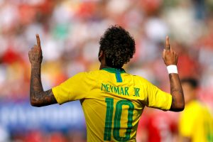Brazil's Neymar celebrates scoring their second goal.