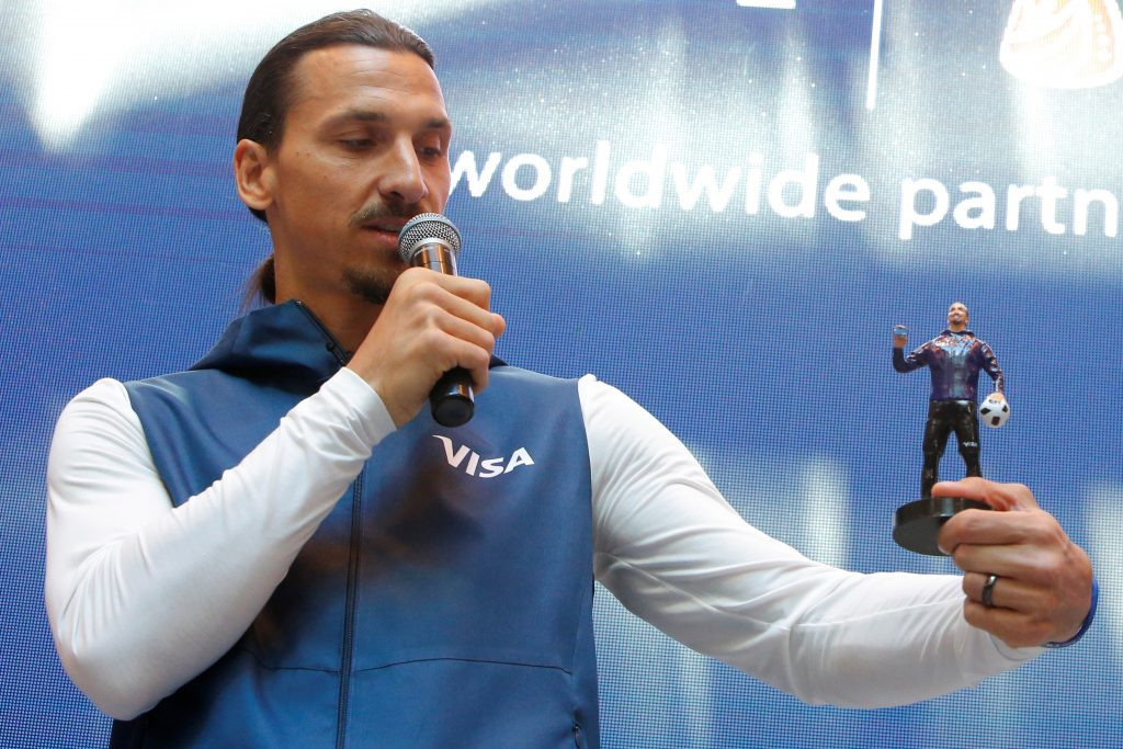 Former Swedish striker Zlatan Ibrahimovic attends a meeting with media representatives on the upcoming 2018 FIFA World Cup in Moscow Russia