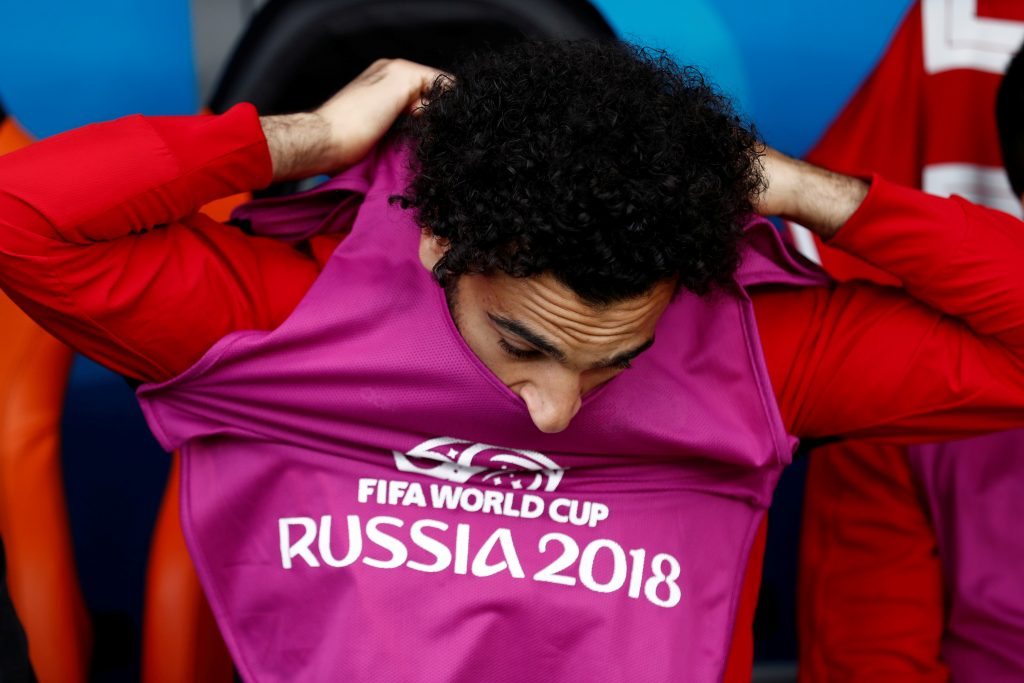 Egypt's Mohamed Salah before the match.