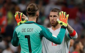 Spain's David de Gea and Sergio Ramos after the match.