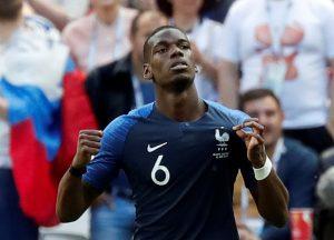 France's Paul Pogba celebrates scoring their second goal.