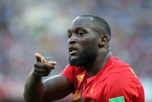 Belgium's Romelu Lukaku celebrates scoring their third goal.