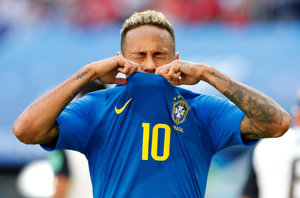 Brazil's Neymar looks dejected after missing a chance to score REUTERS/Carlos Garcia Rawlins.