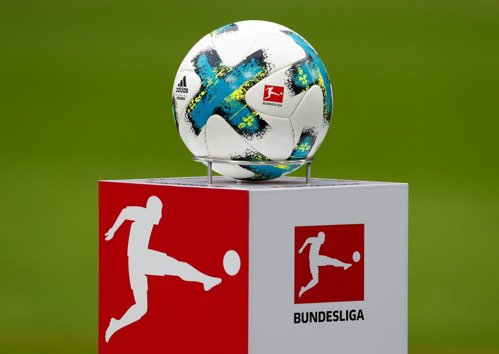 Soccer Football - Bundesliga - Bayern Munich vs Hamburger SV - Allianz Arena, Munich, Germany - March 10, 2018   General view of the ball on the podium before the match   REUTERS/Michaela Rehle    DFL RULES TO LIMIT THE ONLINE USAGE DURING MATCH TIME TO 15 PICTURES PER GAME. IMAGE SEQUENCES TO SIMULATE VIDEO IS NOT ALLOWED AT ANY TIME. FOR FURTHER QUERIES PLEASE CONTACT DFL DIRECTLY AT + 49 69 650050 - RC13809378D0