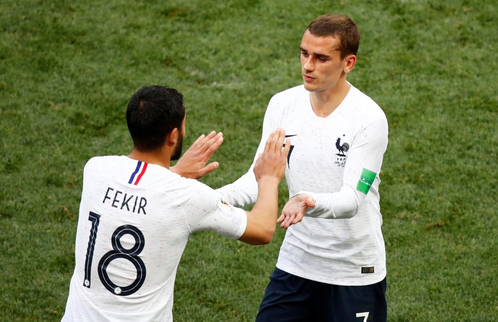 France's Nabil Fekir comes on as a substitute to replace Antoine Griezmann.
