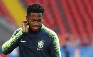 Brazil's Fred during training.