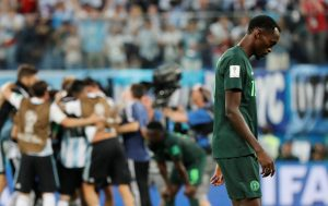 Nigeria's Simeon Nwankwo looks dejected at the end of the match.