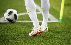 General view of Brazil's Neymar's boots during the match.