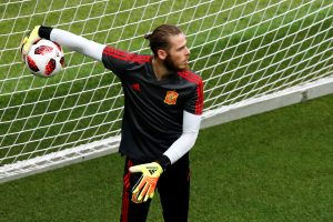 Spain's David de Gea during training.