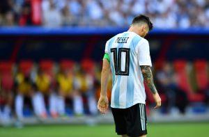 Argentina's Lionel Messi looks dejected.