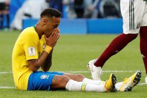 Brazil's Neymar reacts.