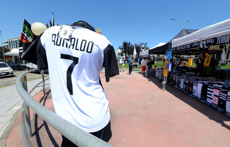 A Juventus' jersey with the name of Cristiano Ronaldo.