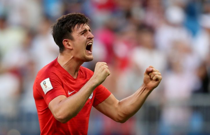 England's Harry Maguire celebrates after the match.