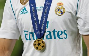 General view of Real Madrid's Nacho wearing his Champions League winners medal.