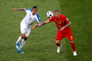 Panama's Blas Perez in action with Belgium's Toby Alderweireld.
