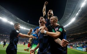 Croatia's Mario Mandzukic celebrates scoring their second goal with teammates.