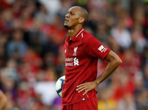 Liverpool's Fabinho prepares to take a penalty.