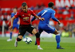 Manchester United's Andreas Pereira in action with Leicester City's Demarai Gray.