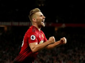 Manchester United's Luke Shaw celebrates scoring their second goal.