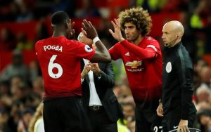Manchester United's Marouane Fellaini comes on as a substitute to replace Paul Pogba.